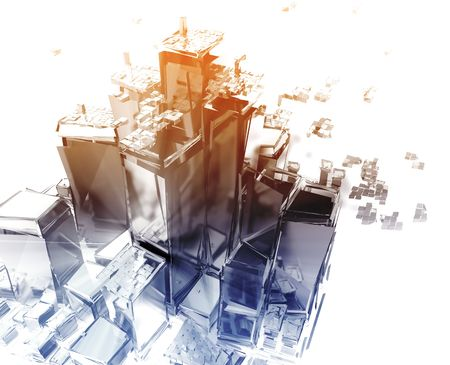 apart: Abstract generic city with exploding breaking apart illustration