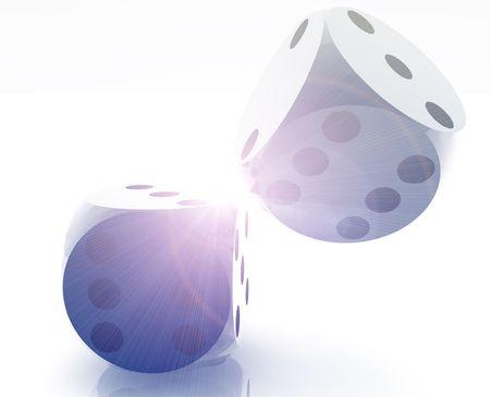 Rolling dice illustration, glossy metal chrome style Stock Illustration - 5158368