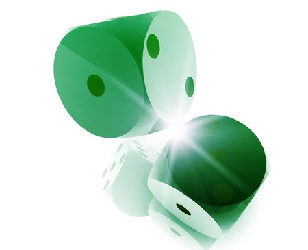 Rolling dice illustration, glossy metal chrome style Stock Illustration - 5158422