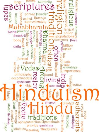 hinduism: Word cloud concept illustration of  Hinduism religion