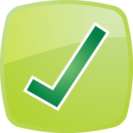 Confirm navigation icon glossy button, square shape Stock Photo - 5158147
