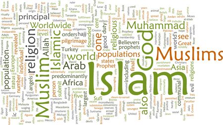 believers: Word cloud concept illustration of  Muslim Islam Stock Photo