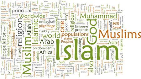Word cloud concept illustration of  Muslim Islam Stock Photo
