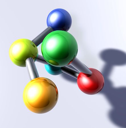 atomic symbol: Molecule model molecular atomic structure illustration, glossy chrome