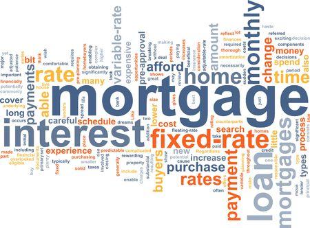 Word wolk concept illustratie van huis hypotheek Stockfoto