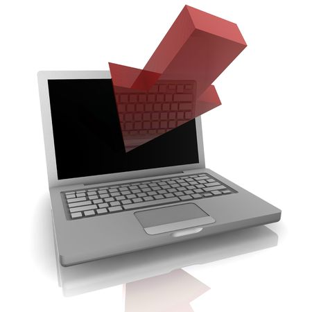 Computer online web navigation with pointing arrow  and notebook photo