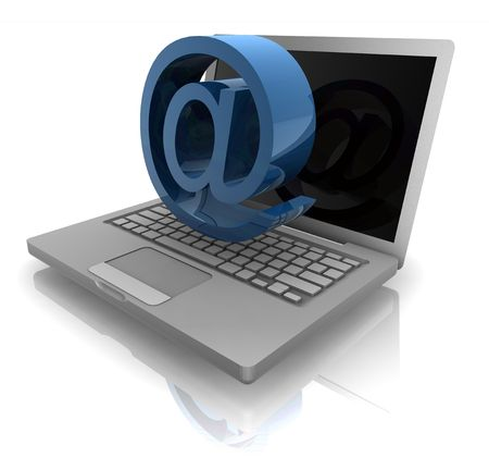 computerized: Computer online internet illustration with at symbol and notebook Stock Photo