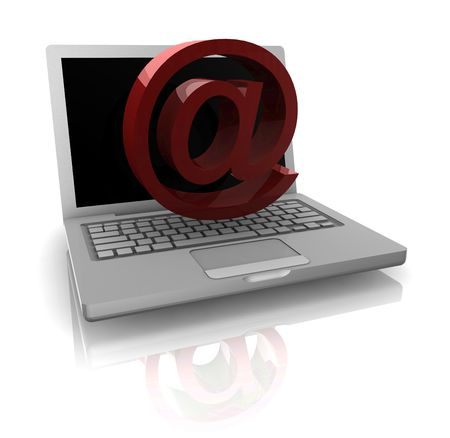 Computer online internet illustration with at symbol and notebook Stock Illustration - 5158334