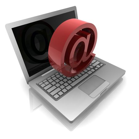 Computer online internet illustration with at symbol and notebook illustration