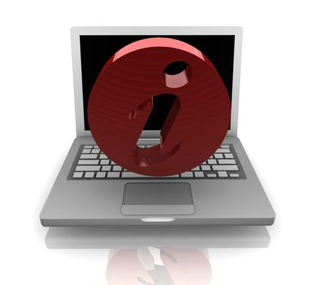 Computer online help information with info symbol and notebook Stock Photo - 5158324