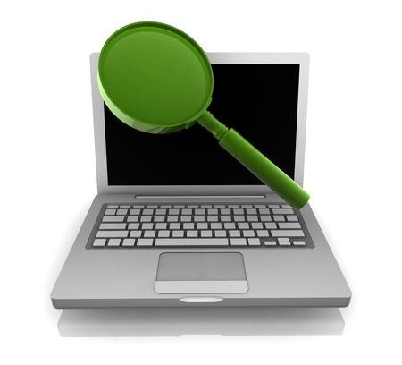 Computer online search information with magnifying glass and notebook Stock Photo - 5158329
