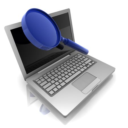 internet search: Computer online search information with magnifying glass and notebook