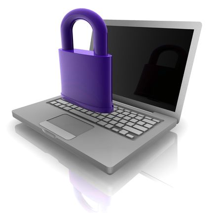 Computer internet security illustration with lock and notebook Stock Illustration - 5158383