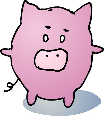 Fat rounded cute pig cartoon comic illustration Stock Illustration - 5158469