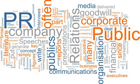relations: Word cloud concept illustration of public relations Stock Photo