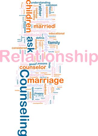 Word cloud concept illustration of  relationship counseling illustration