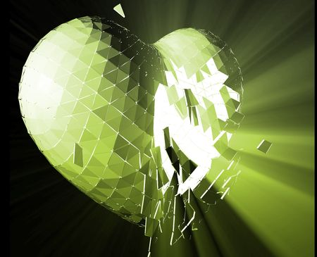 Broken shattered heart lost love glowing abstract illustration  Stock Illustration - 5158445