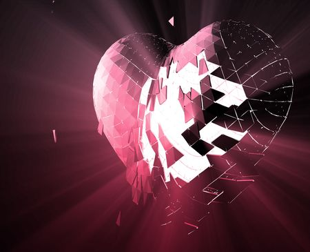 sad love: Broken shattered heart lost love glowing abstract illustration  Stock Photo