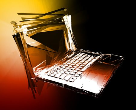Computer technology failure with broken notebook concept illustration Stock Illustration - 5158479