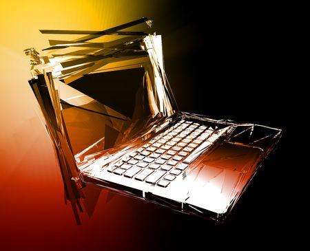 Computer technology failure with broken notebook concept illustration Stock Illustration - 5158479