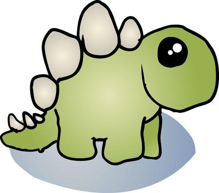 tyrannosaur: Fat rounded cute stegosaurus dinosaur cartoon illustration Stock Photo