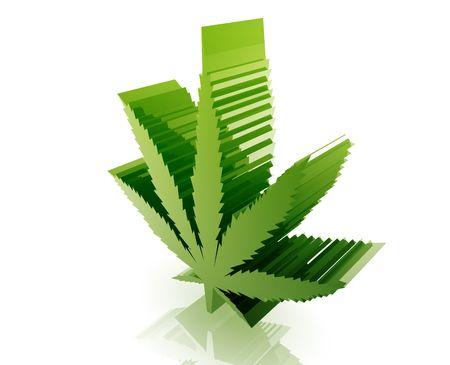 Marijuana cannabis leaf illustration glossy metal style isolated Stock Illustration - 5158218