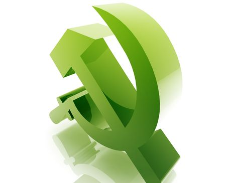 Soviet USSR symbol illustration glossy metal style isolated illustration