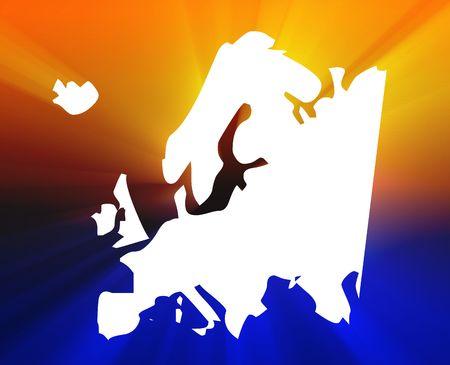 Map of Europe illustration, glowing shining light appearance Stock Illustration - 5158232