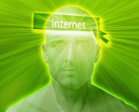 think about: Man thinking about internet clicking,floating over head