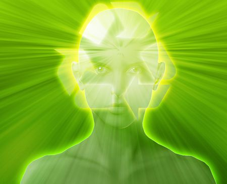 envision: Woman thinking about recycling environment, floating over head Stock Photo