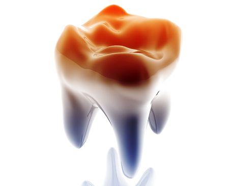 Metall glossy Stil der Molar Tooth-Illustration isoliert