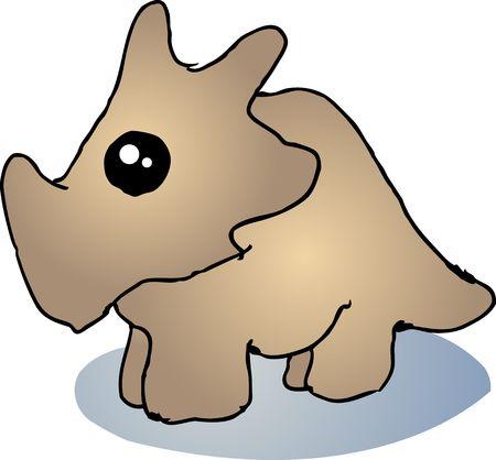 Fat rounded cute triceratops dinosaur cartoon illustration Stock Illustration - 5158088