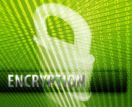 Online computer security encryption illustration with locked padlock illustration