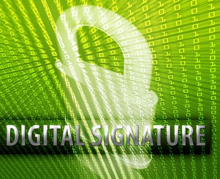 signature: Online computer security digital signature illustration with locked padlock