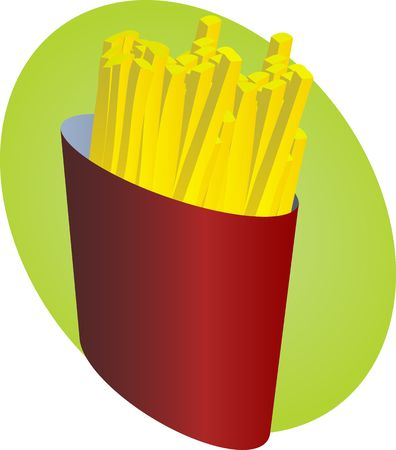 French Fried potatoes, french fries in fast food packaging illustration Stock Illustration - 5324968