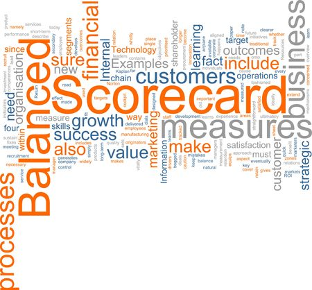 business words: Word cloud concept illustration of balanced scorecard Stock Photo