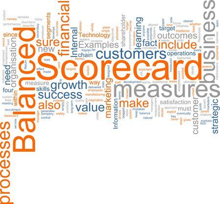 balanced scorecard: Word cloud concept illustration of balanced scorecard Stock Photo