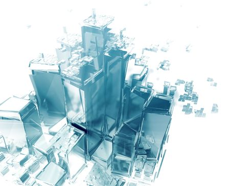 devastating: Abstract generic city with exploding breaking apart illustration
