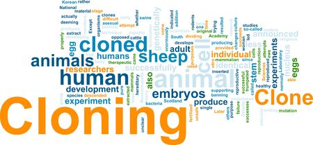 clone: Word cloud concept illustration of cloning clone Stock Photo