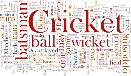 wicket: Word cloud concept illustration of Cricket sport