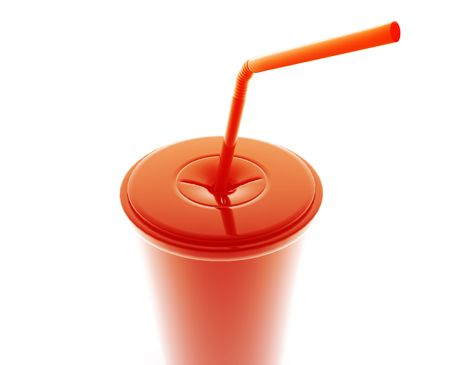 bendy straw: Fastfood cup illustration glossy metal style isolated
