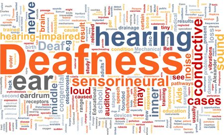 deafness: Word cloud concept illustration of hearing deafness Stock Photo
