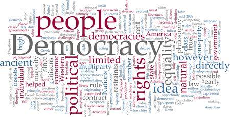 representations: Word cloud concept illustration of democracy political