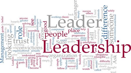 Word cloud concept illustration of leadership management illustration