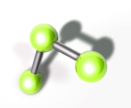 atomic structure: Molecule model molecular atomic structure illustration, glossy chrome Stock Photo