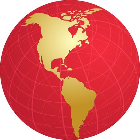 the americas: Map of the Americas, on a globe, cartographical illustration