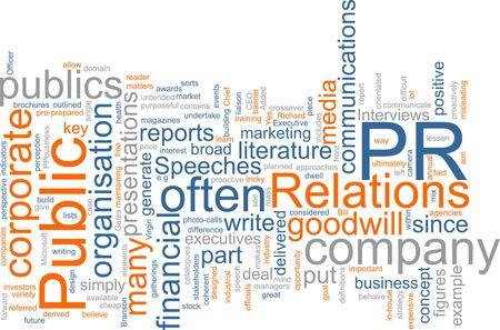 relations publiques: Word cloud concept illustration des relations publiques  Banque d'images