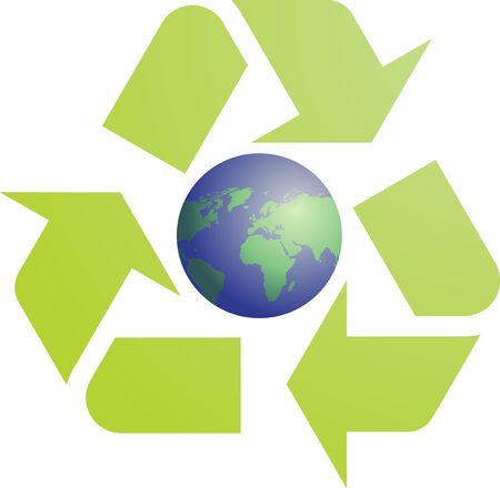 sustain: Recycling eco symbol illustration of three pointing arrows with world globe map