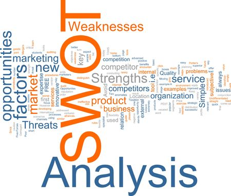 swot analysis: Word cloud concept illustration of SWOT Analysis Stock Photo
