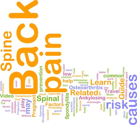back ache: Word cloud concept illustration of  back pain